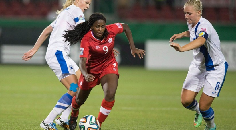Nichelle Prince in action for Canada's U-20 team. (Chris Young/CP)